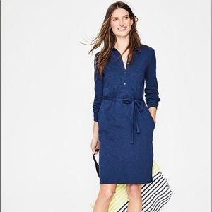 Boden Blue Jena Jersey Polo Shirt Tie Waist Dress